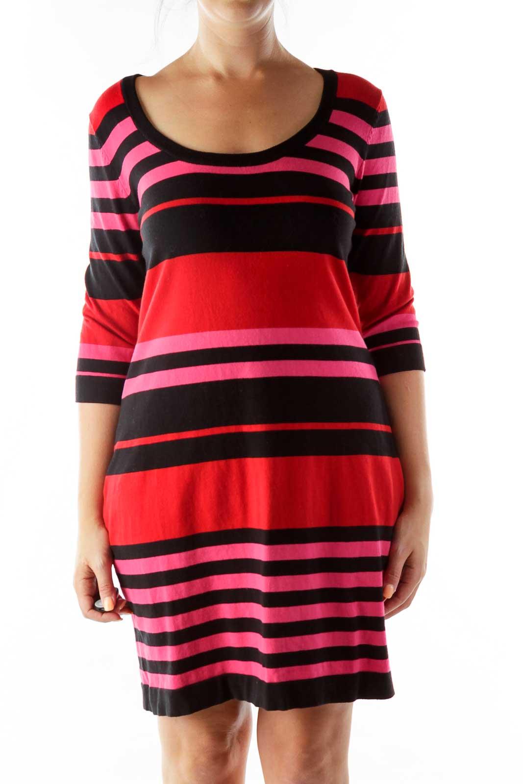 Black Pink Red Knit Striped Dress