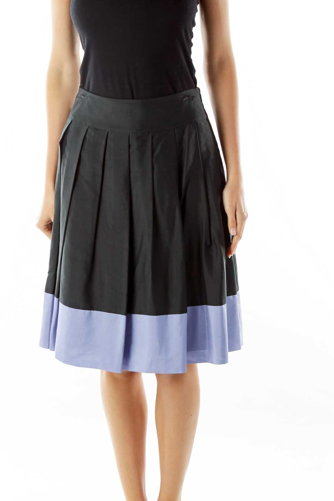 Purple Black Striped A-Line Skirt