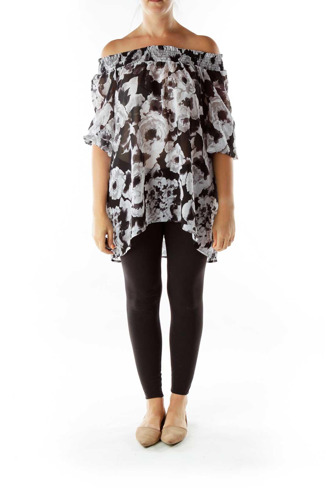 Black Gray Floral Off-Shoulder Top