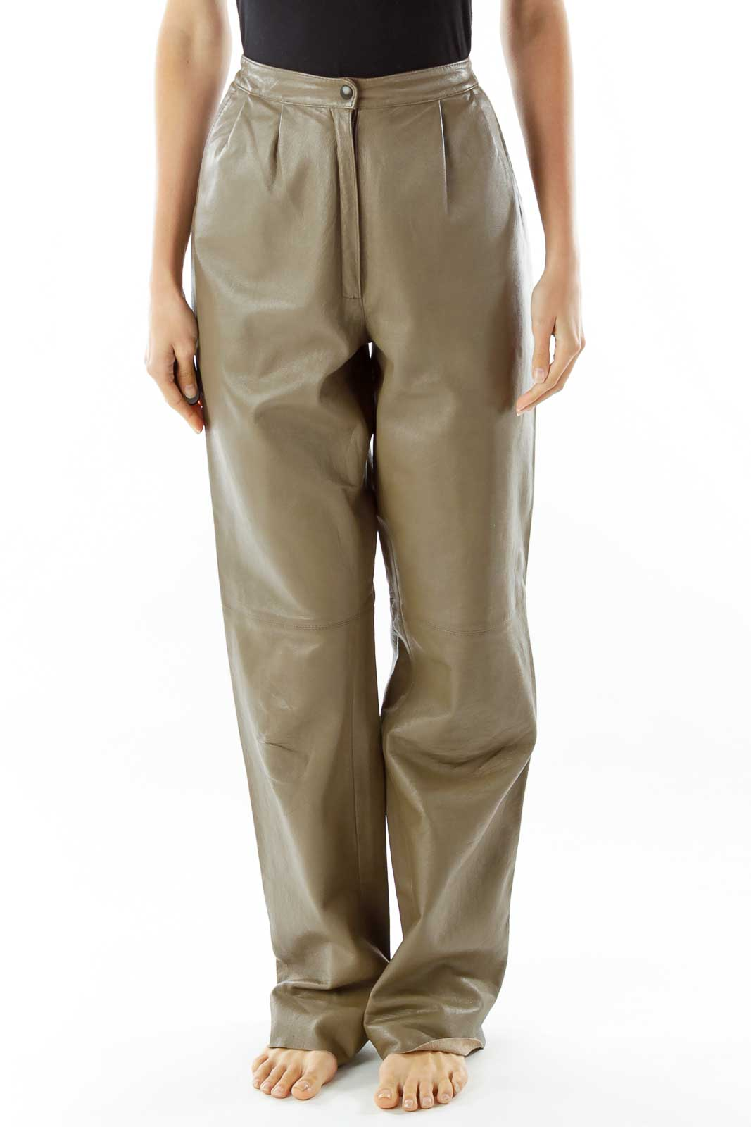 Brown Faux-Leather Vintage Pants