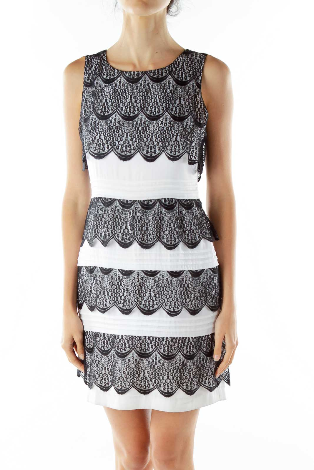 Black White Lace Cocktail Dress