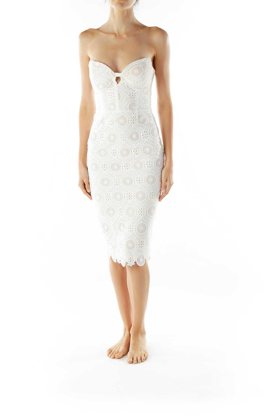 Cream Beige Lace BodyCon Dress