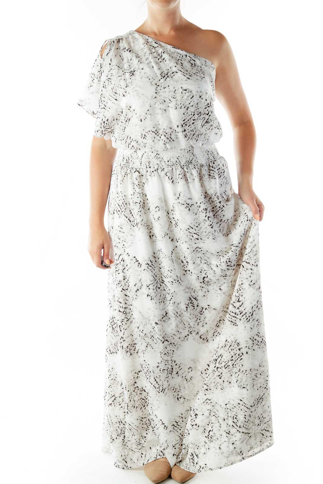 Gray White One Shoulder Maxi Dress