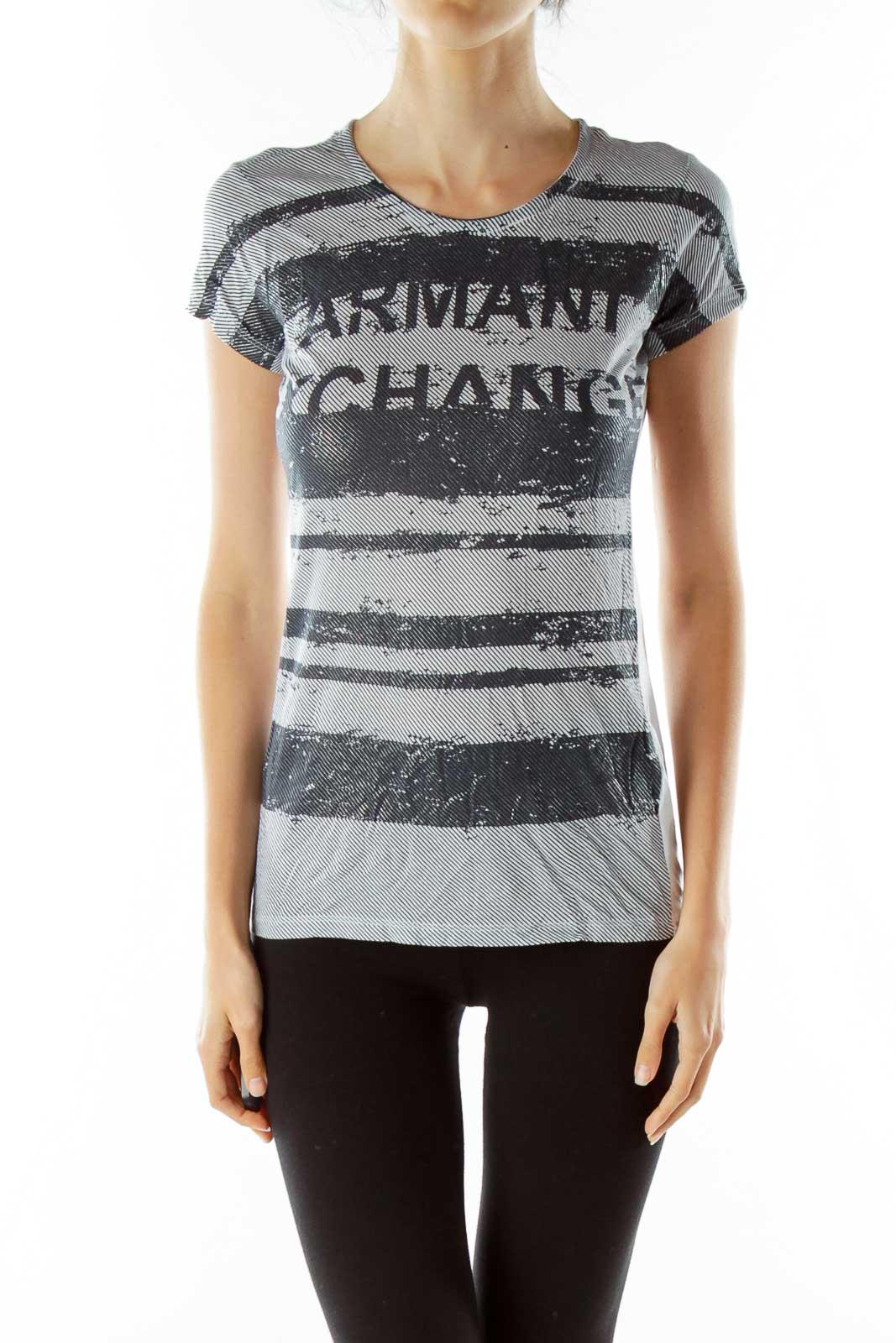 Navy White Shimmer Striped T-Shirt