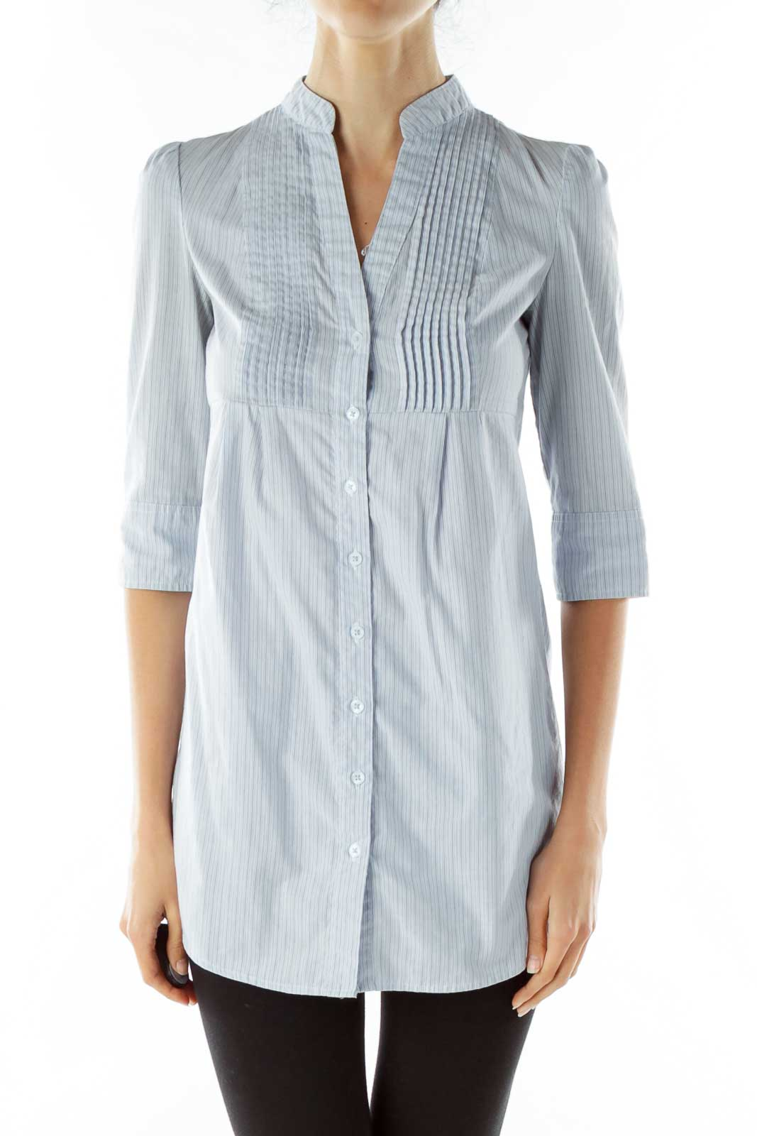 Blue Pinstripe Shirt Dress