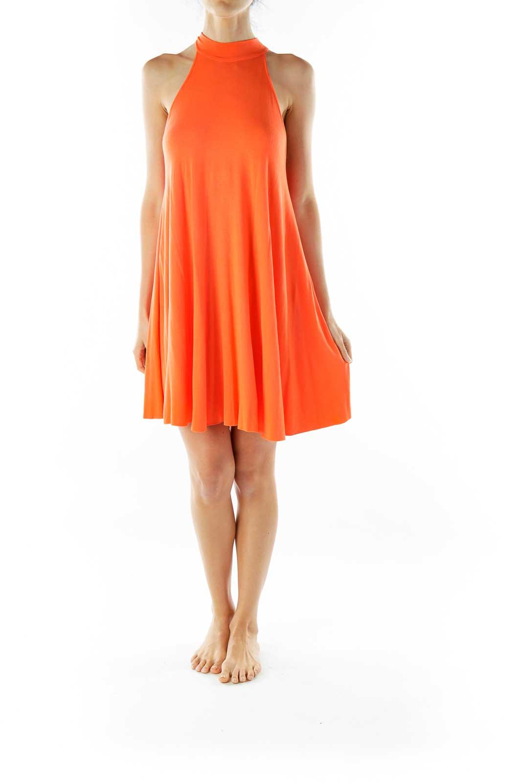 Orange Halter Shift Dress