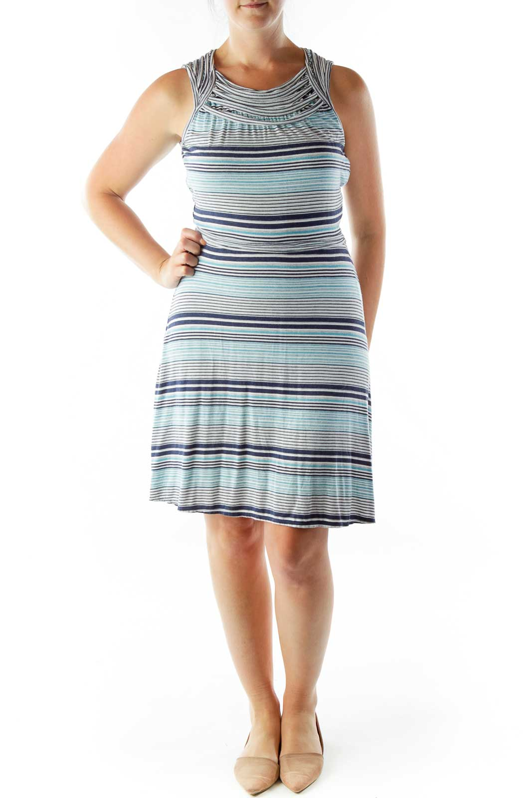 Blue Gray Striped Day Dress