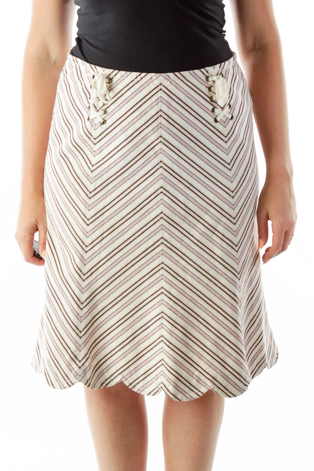 Beige Purple Chevron Print Skirt
