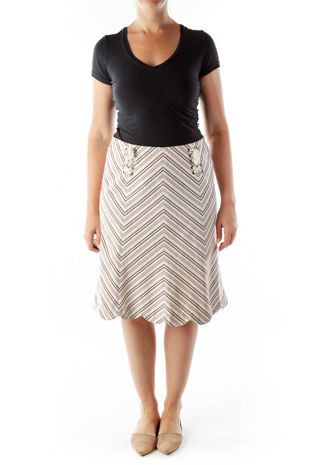 Beige Purple Chevron Print Skirt