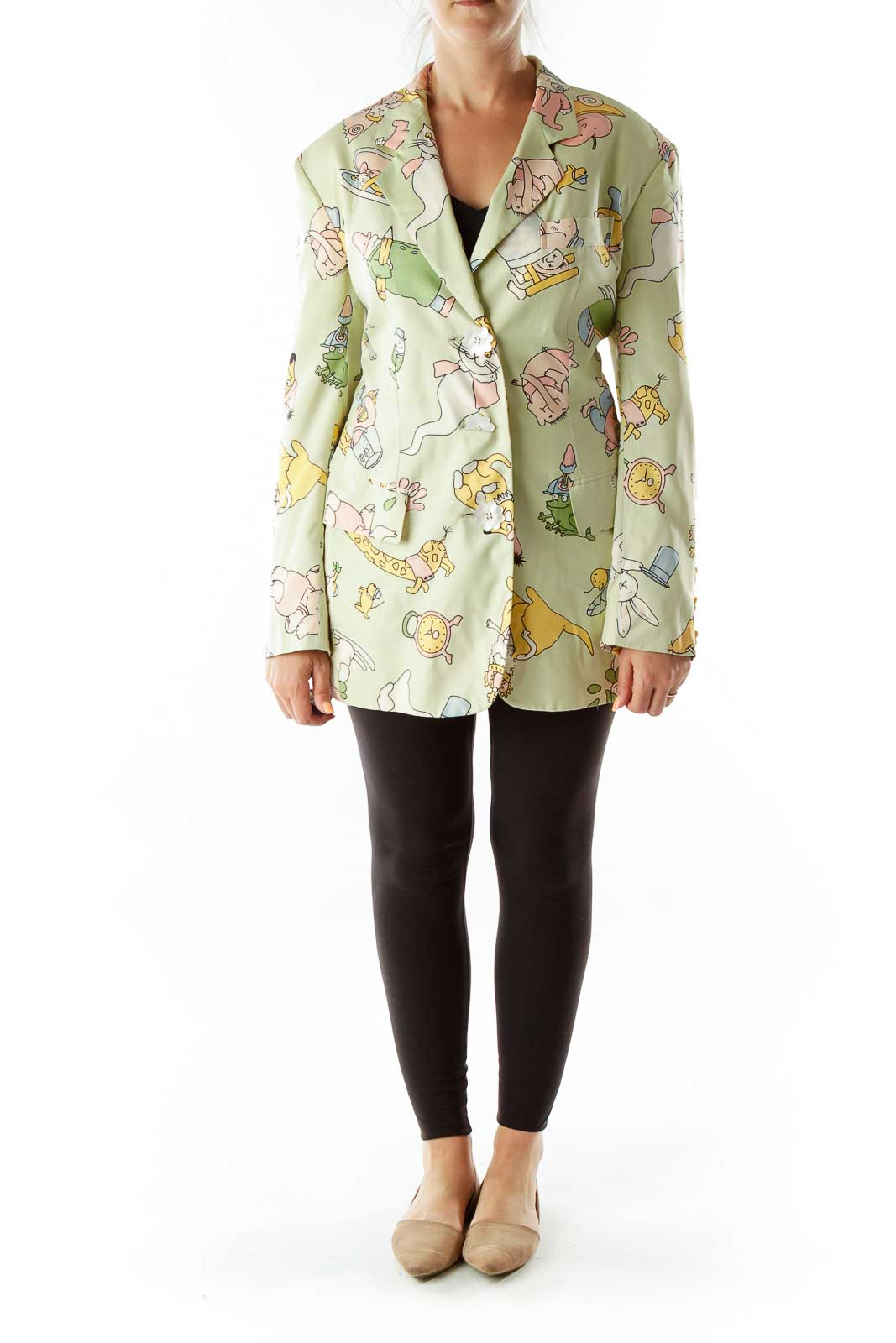 Green Cartoon Flower Buttons Designer Blazer