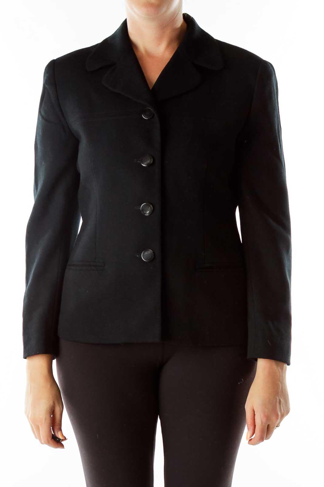 Black Single-Breasted Wool Coat