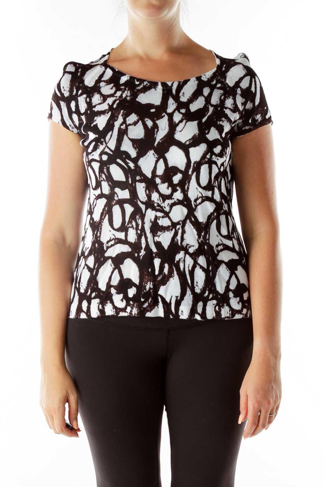 Black White Print Knit Top