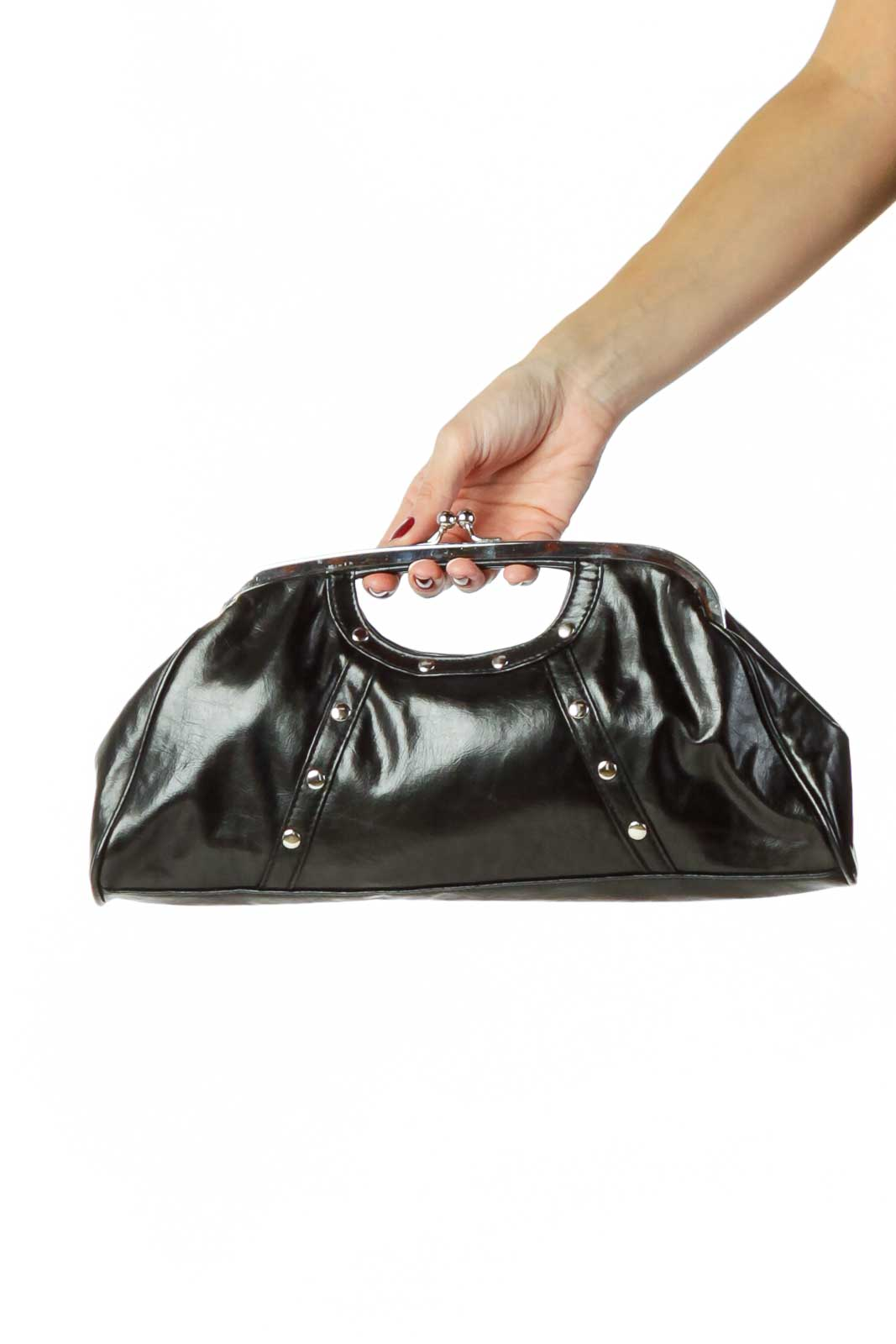 Black Faux-Leather Clutch