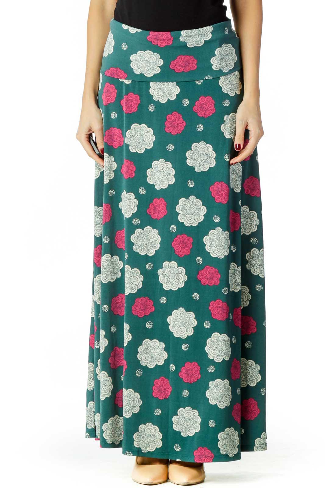 Green Cream Pink Maxi Skirt
