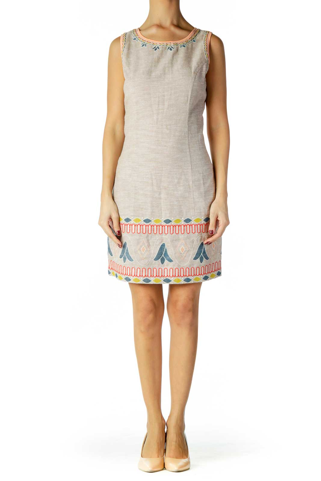 Brown Embroidered Pattern Dress