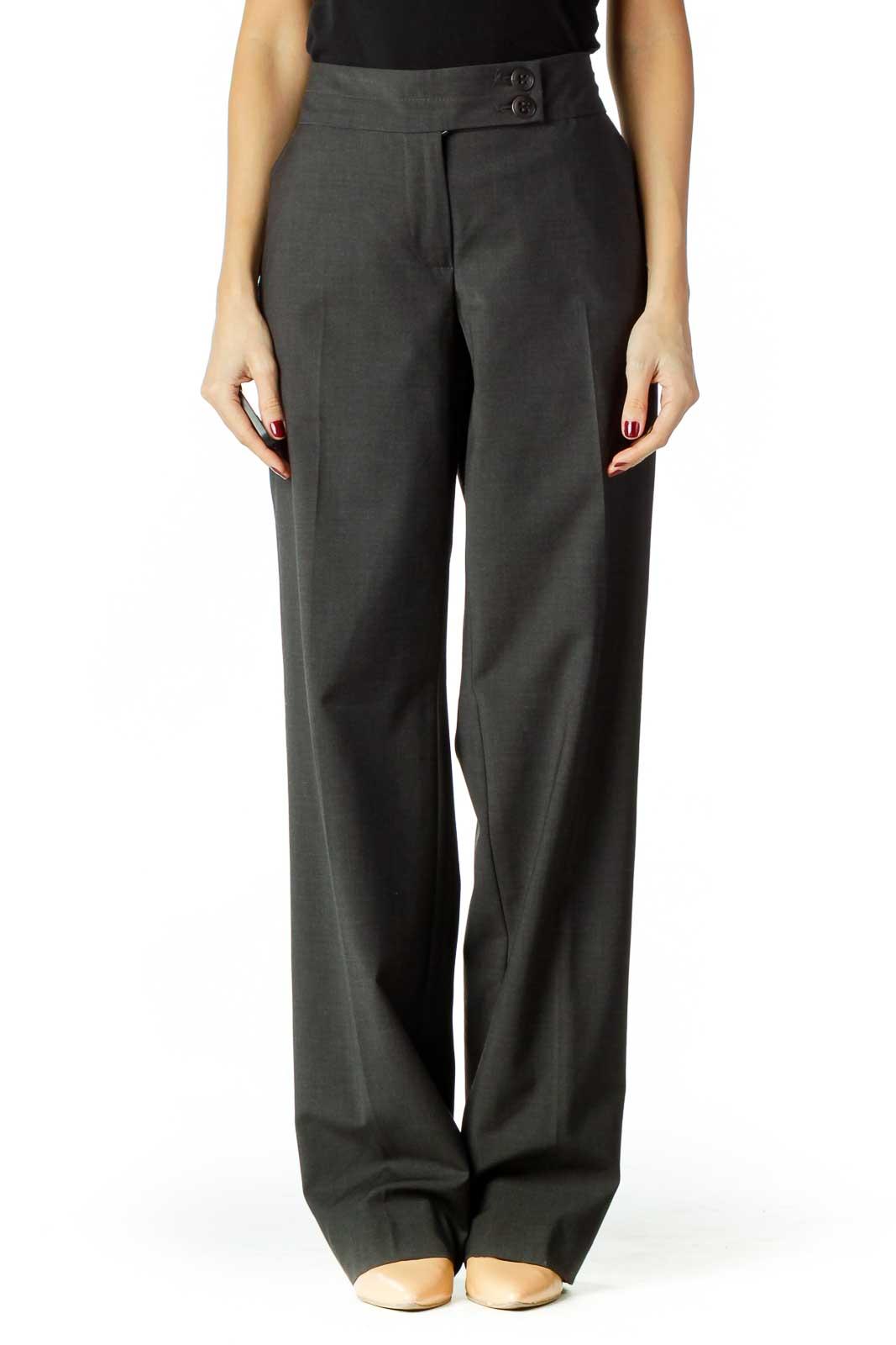 Gray Wool Straight Leg Slacks