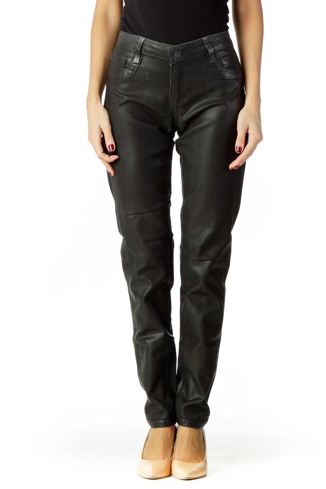 Gray Metallic Reversible Skinny Jeans