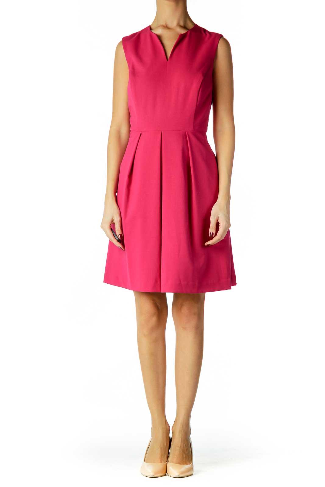 Pink V-Neck Cocktail Dress