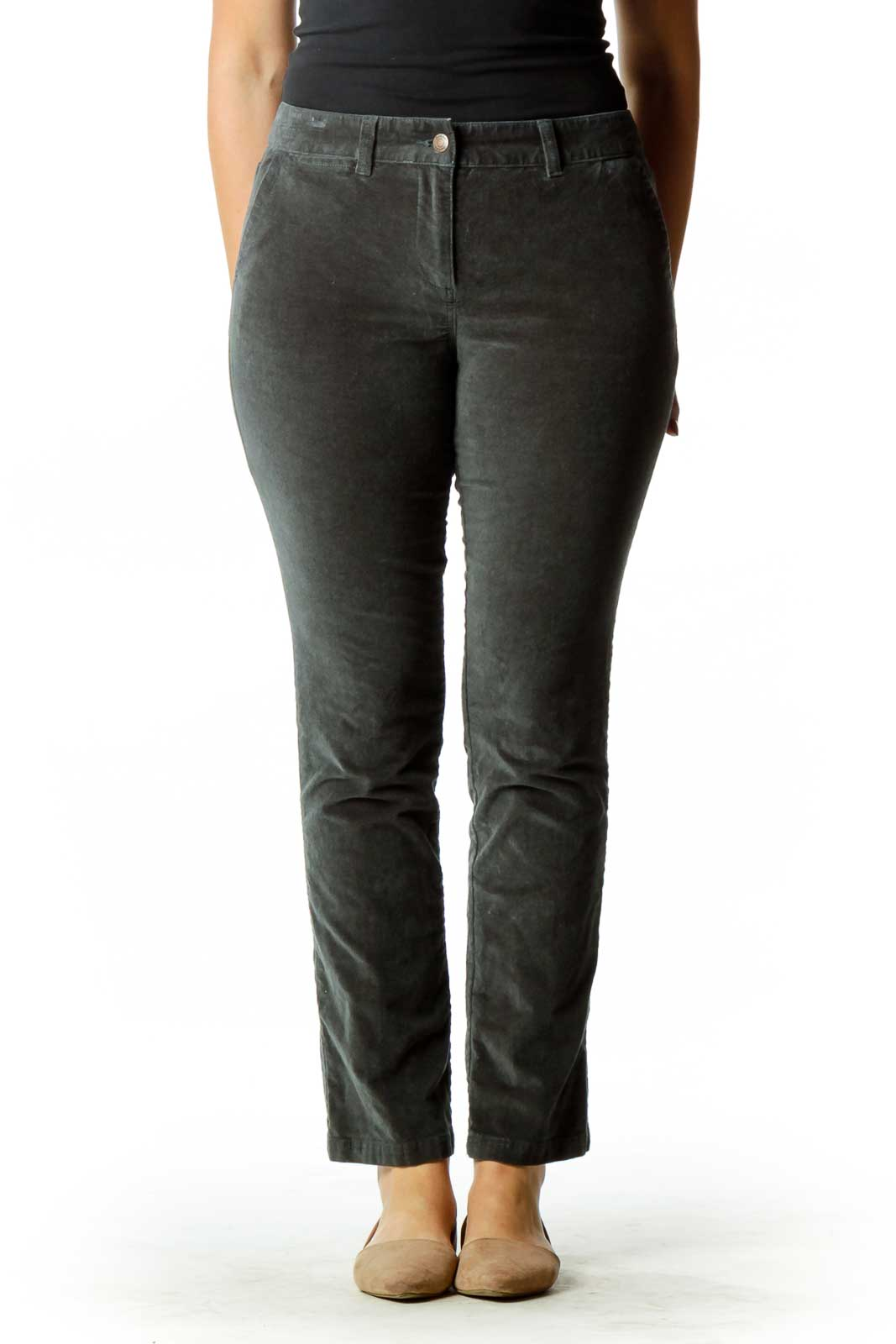 Gray Velvet Straight-Leg Pants