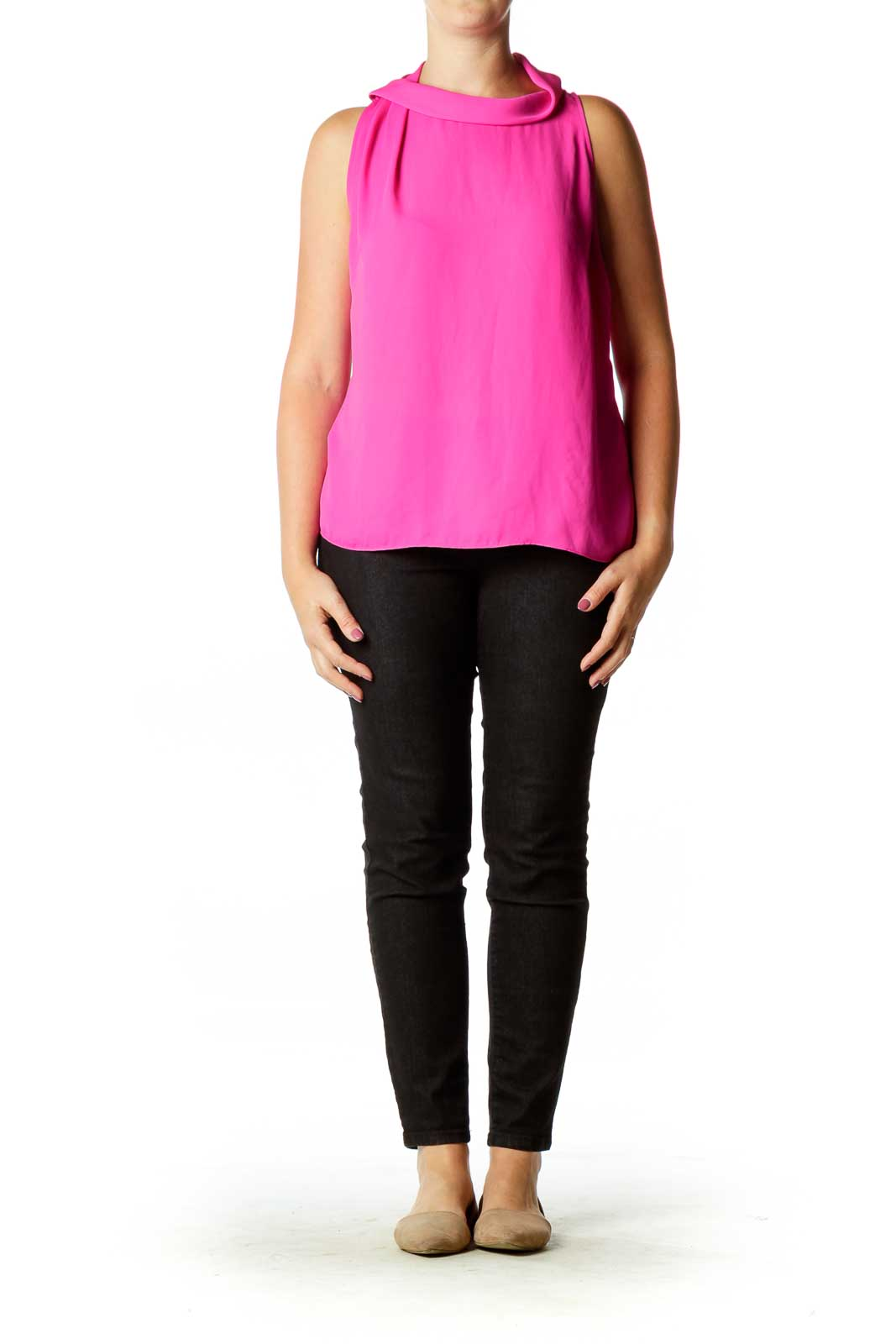 Pink High Neck Blouse
