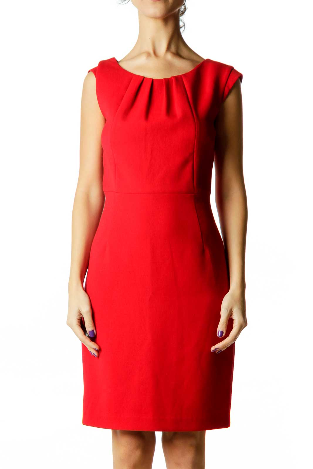 Red Fitted Sheath Work Dress