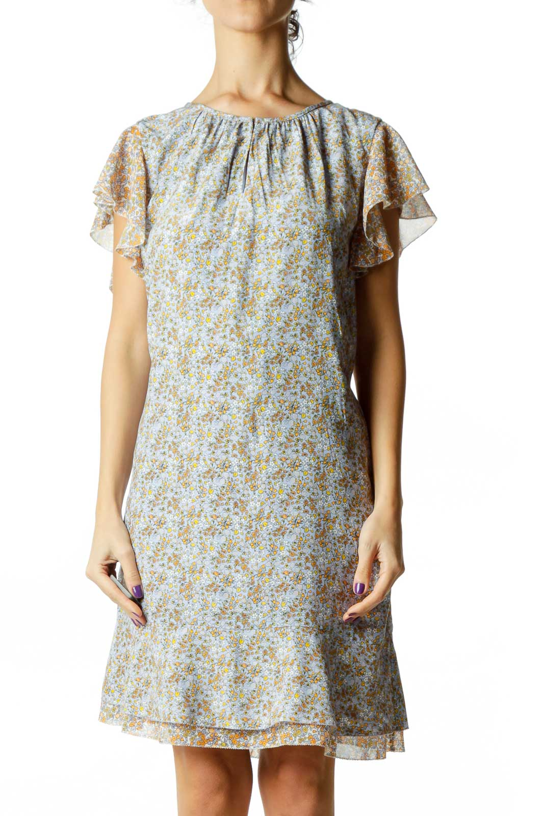 Blue Flower Print Day Dress