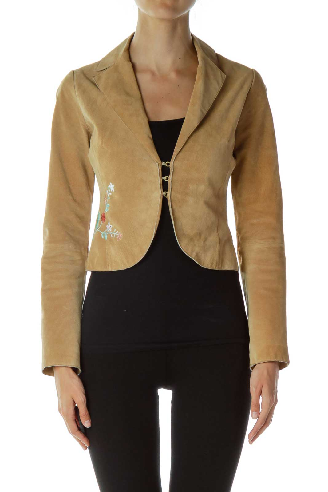 Brown Embroidered Leather Jacket
