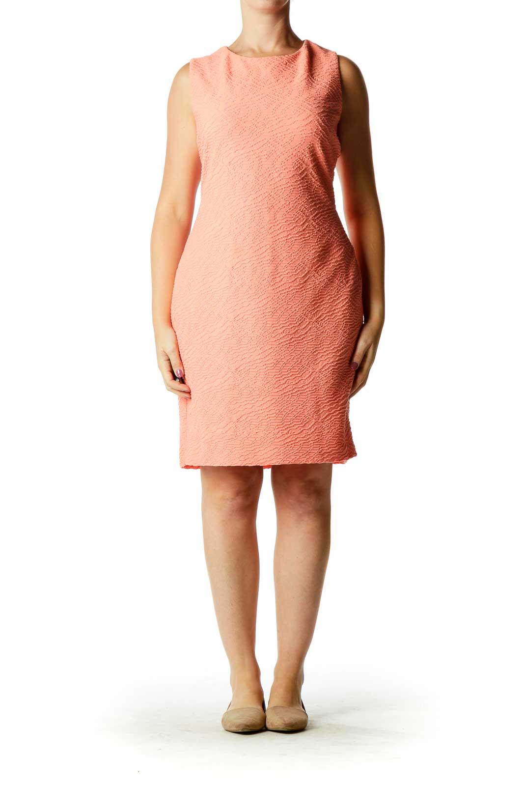 Pink Textured Sheath Dress