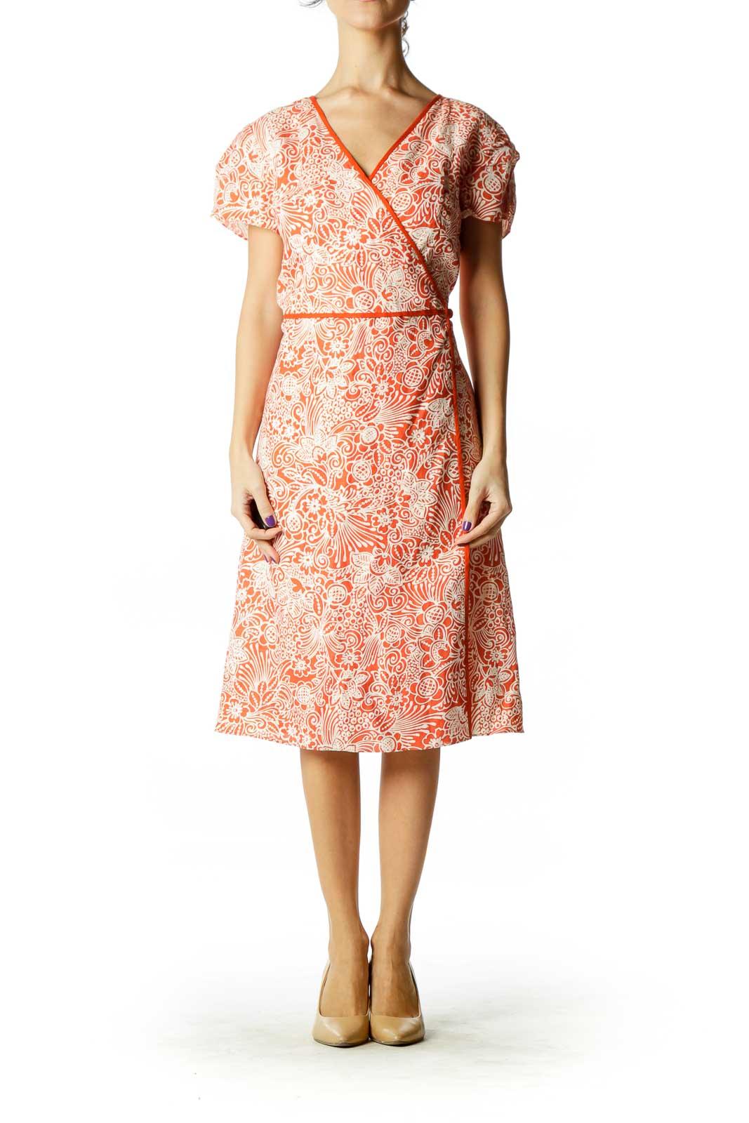 Orange White Print Wrap Dress