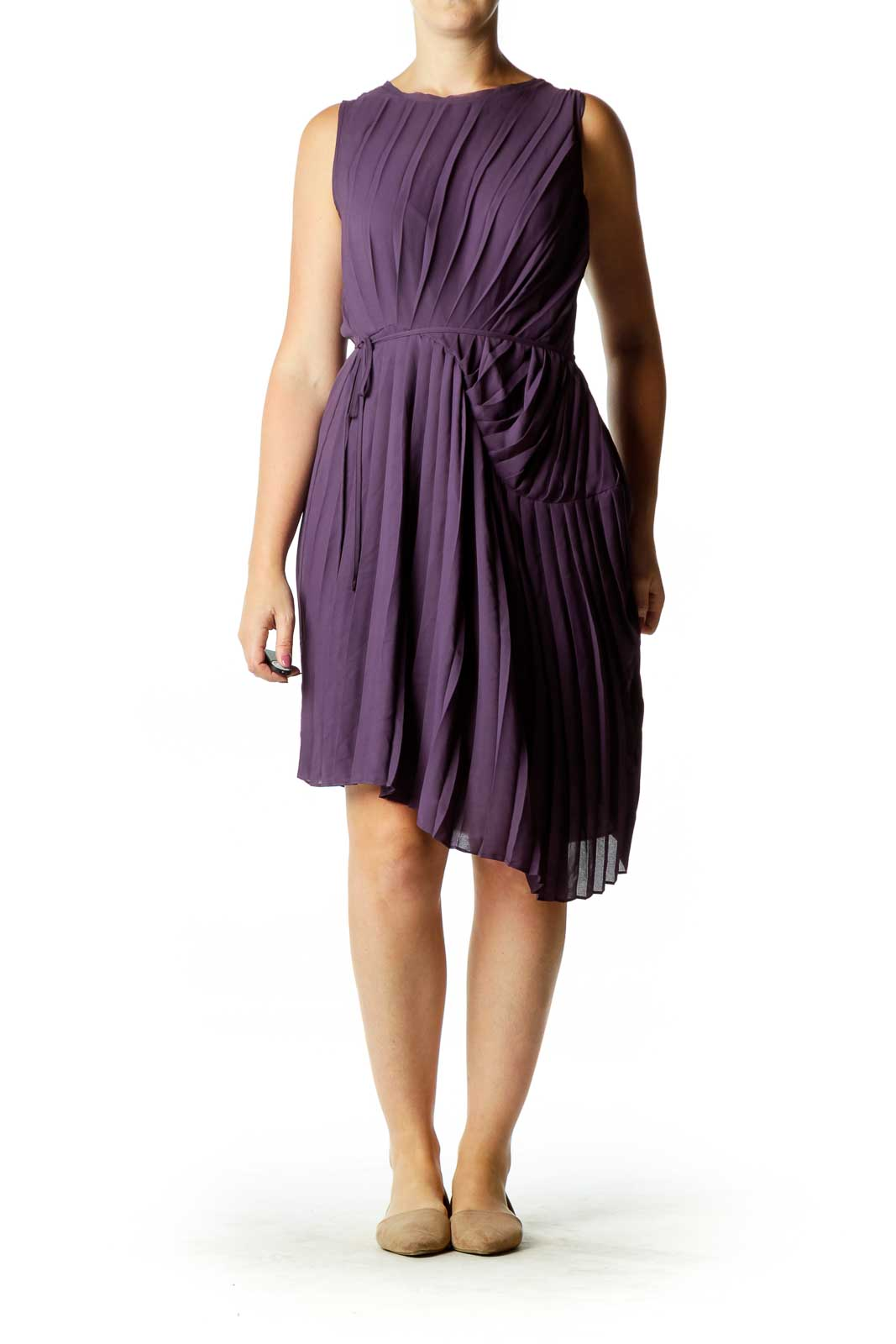 Purple Pleated Cocktail Dress