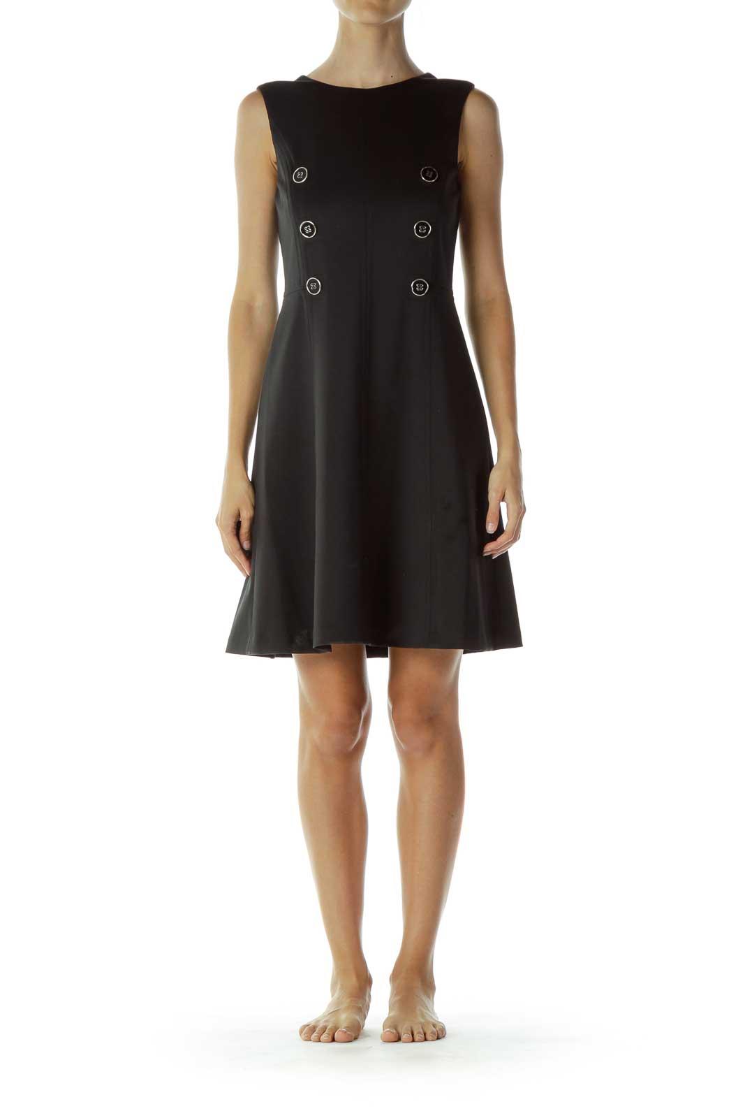 Black Structured A-Line Dress