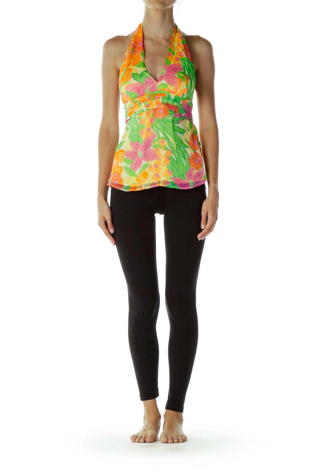Multicolor Flower Halter Silk Tunic