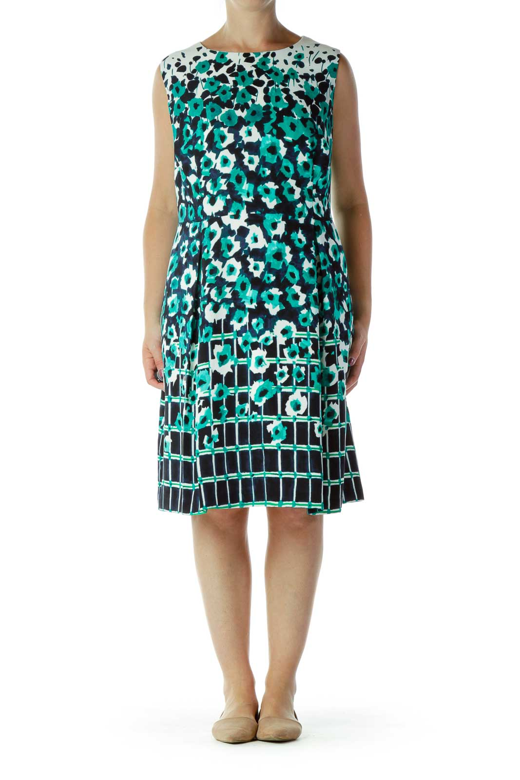 Green Blue White Flower Checkered A-Line Dress