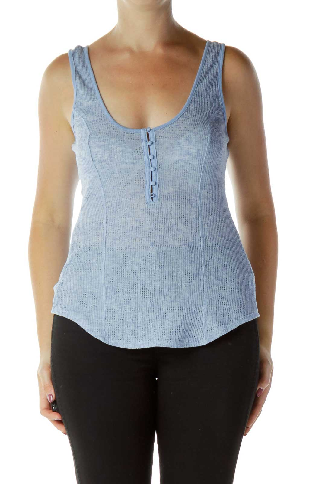 Blue Buttoned Tank Top