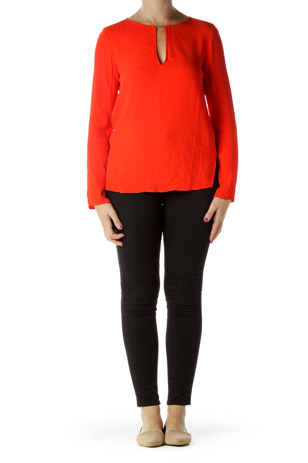 Red Round Neck Blouse