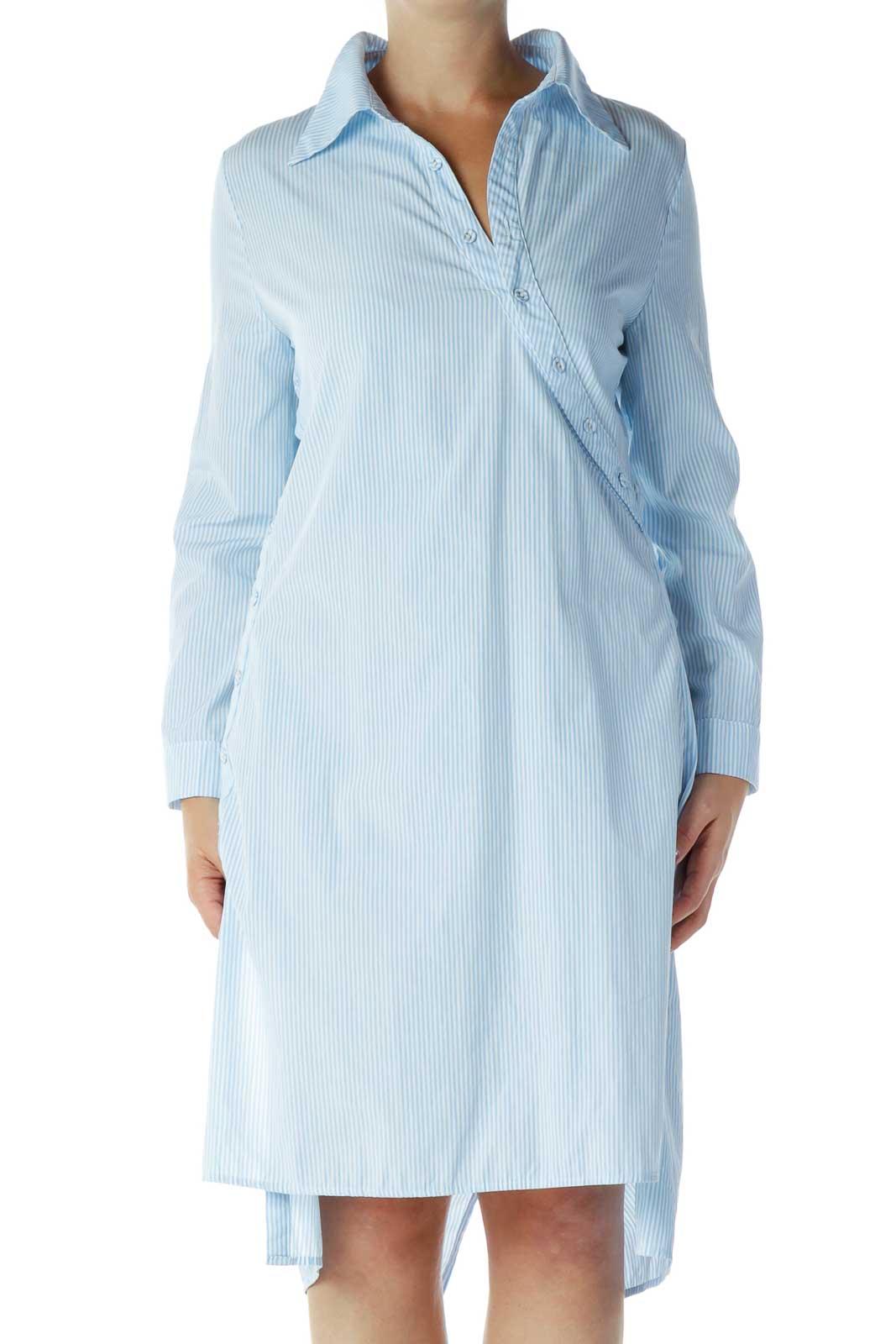 Blue & White Pinstripe Shirt Dress