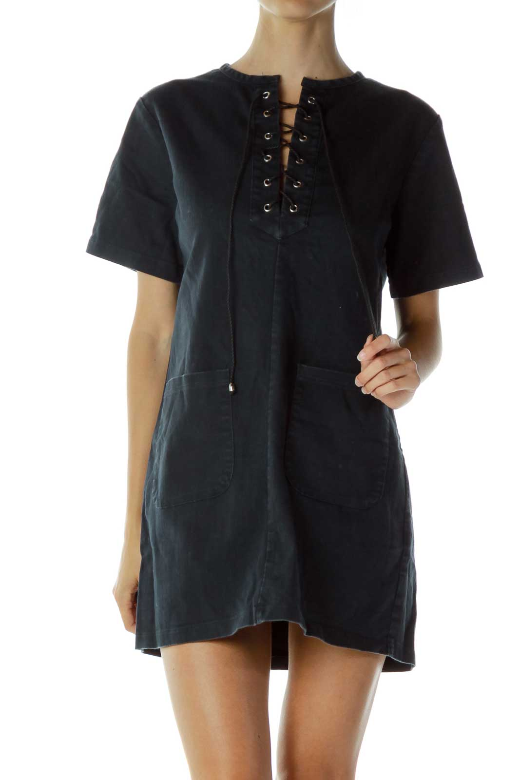 Blue Lace Up Denim Dress