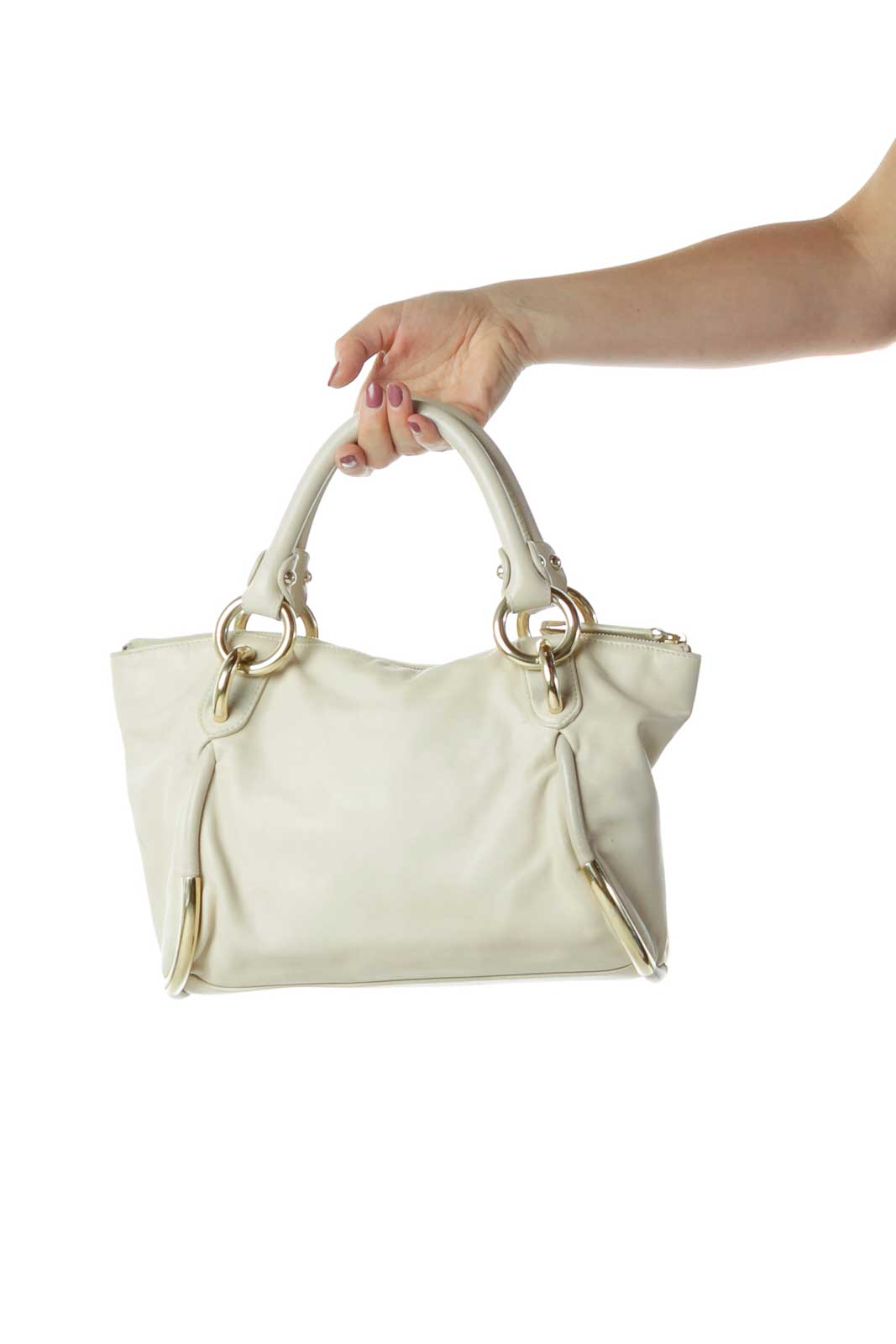 Beige Leather Satchel