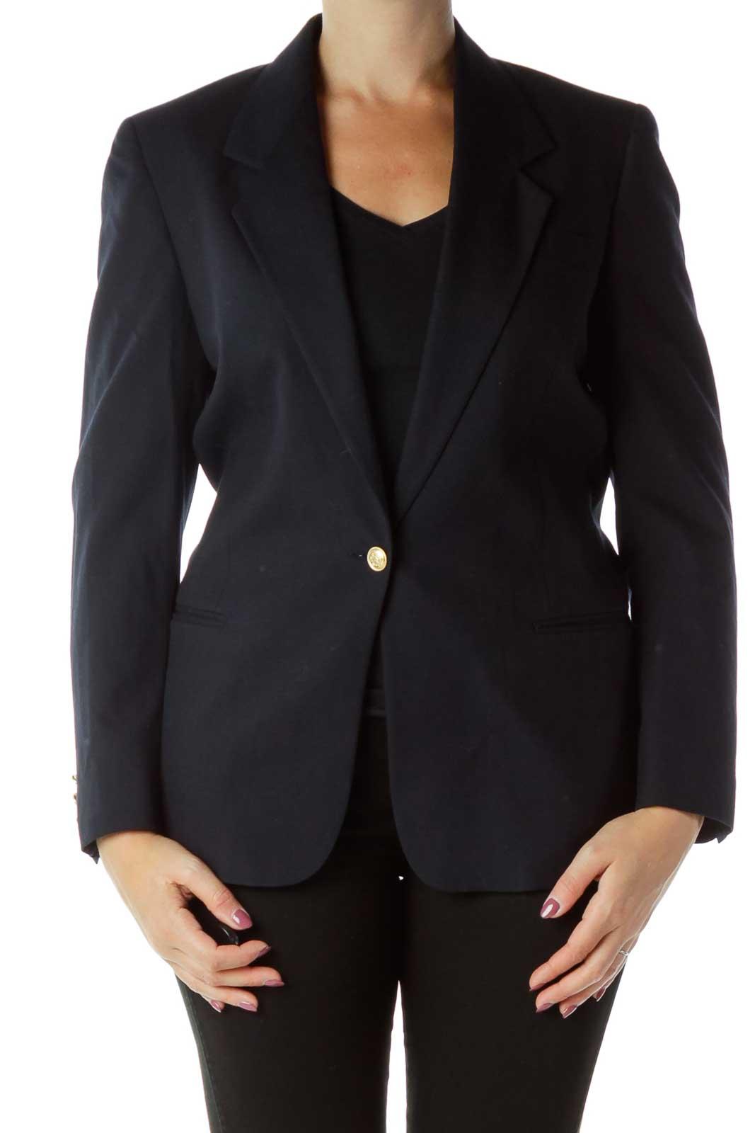 Navy Buttoned Blazer
