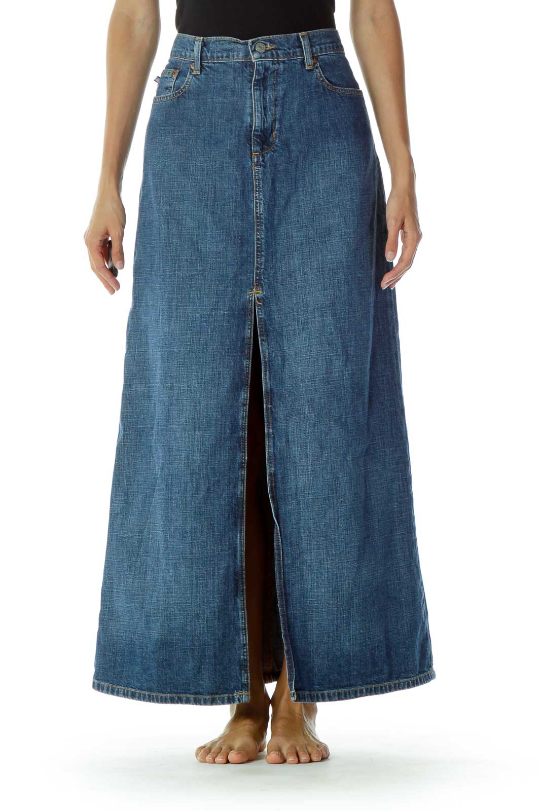 Denim Slitted Skirt