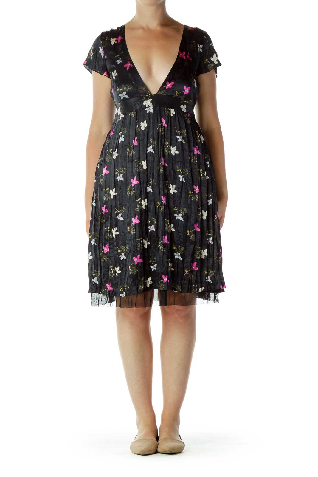 Black Purple Flower Print Dress