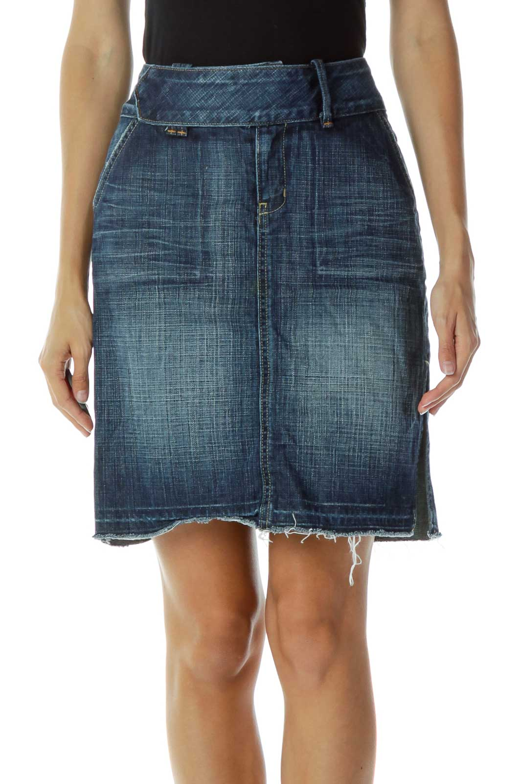 Denim Distressed Skirt