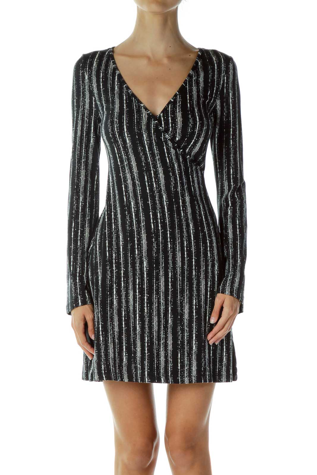 Black White Printed V-Neck Dress