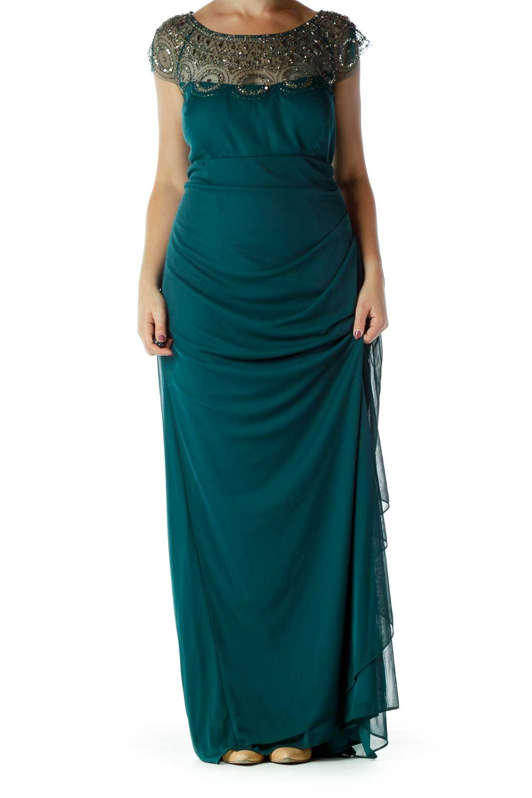 Green Beaded Evening Dress