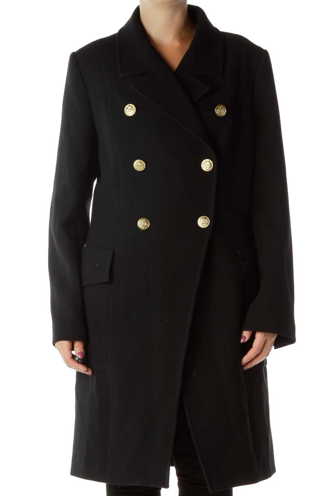 Black Gold Double-Breasted Coat