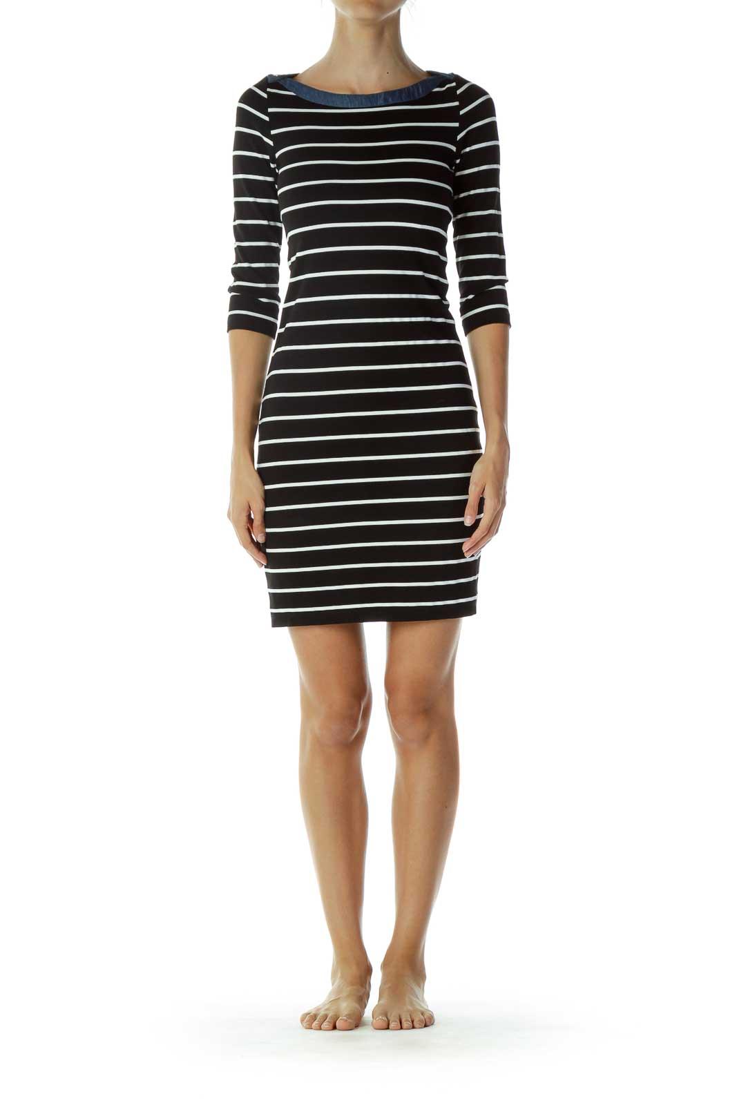 Black White Striped Day Dress