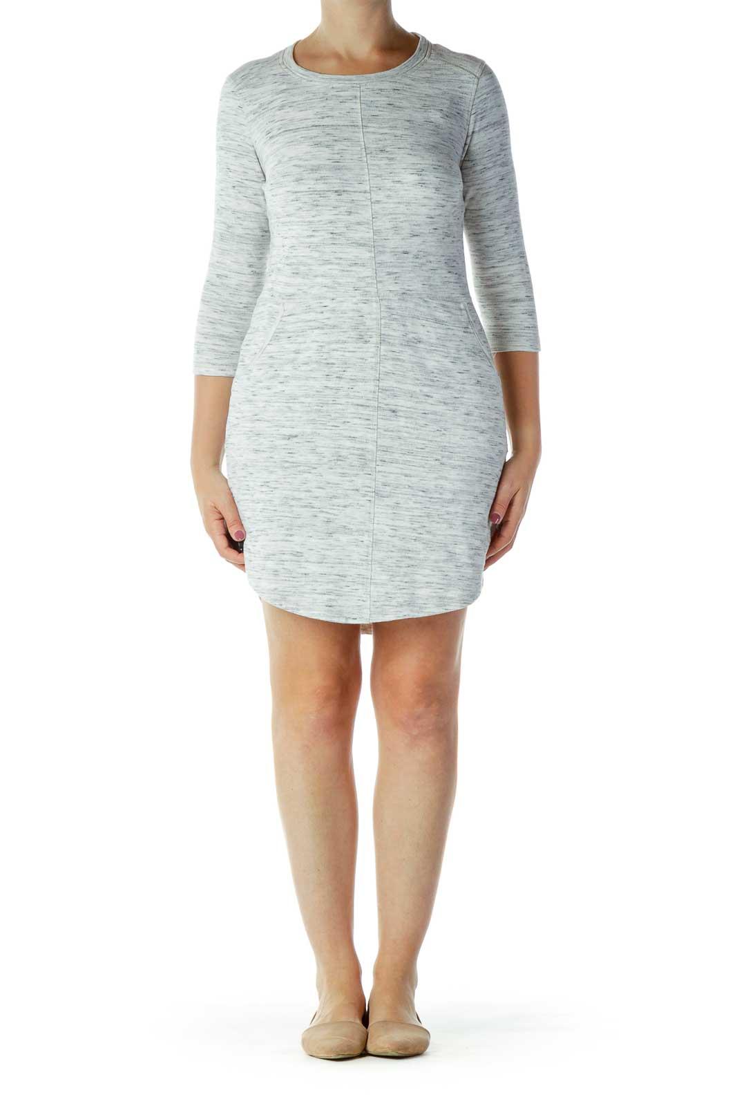 Gray Mottled Knit Dress