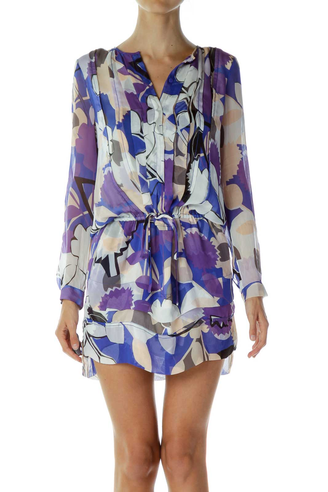Purple Blue Print Day Dress