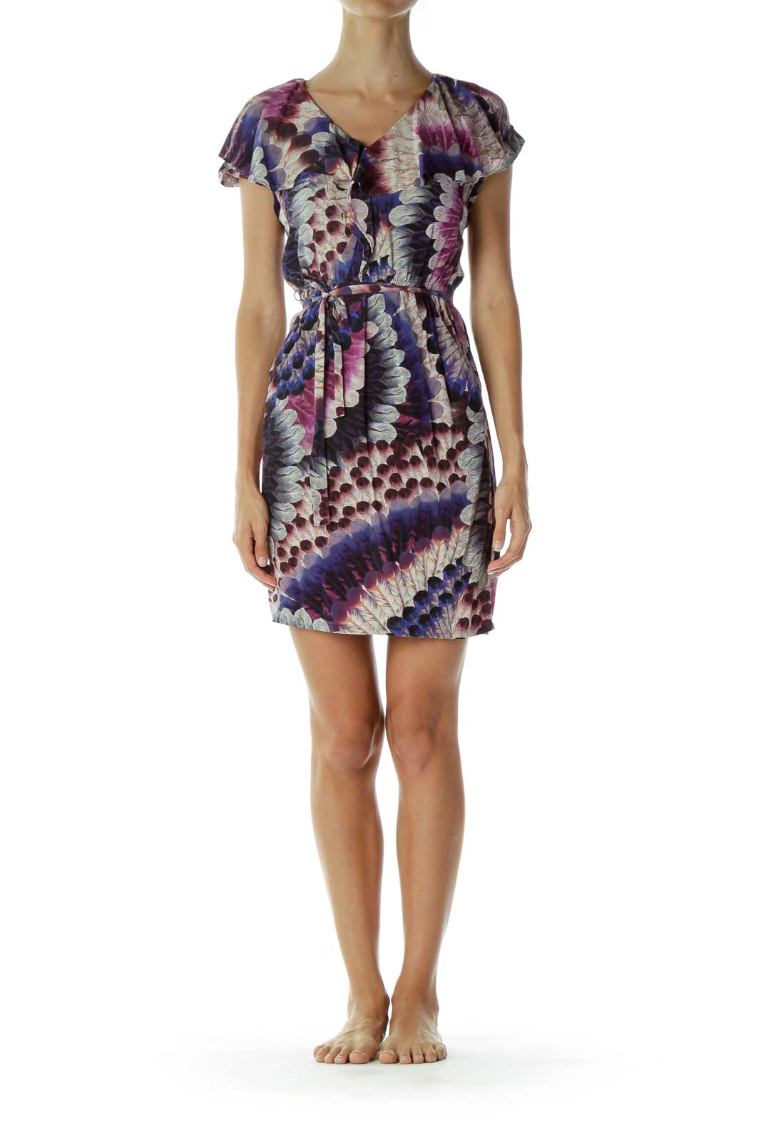 Purple Feather Print Day Dress