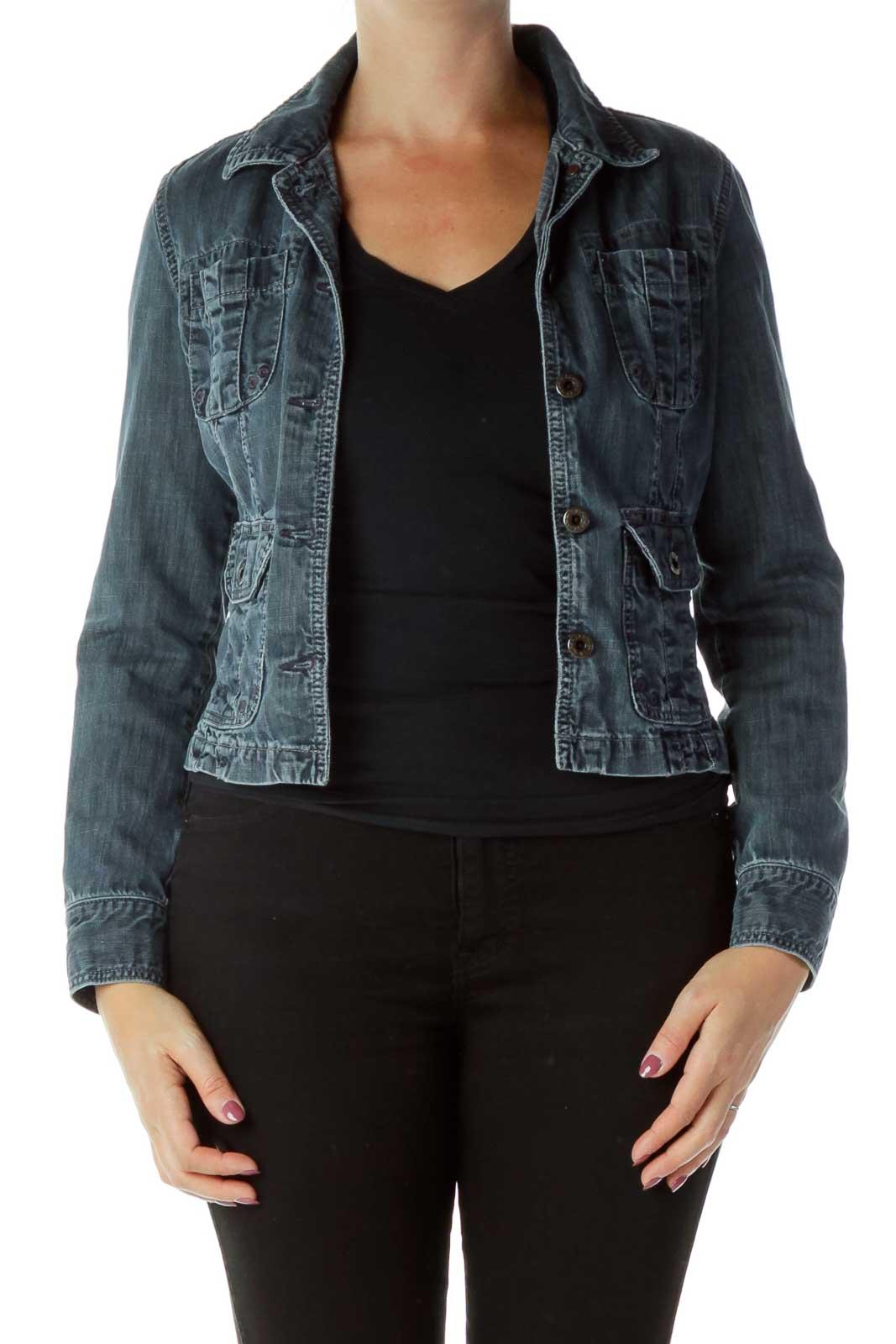 Denim Pocketed Buttoned Jacket